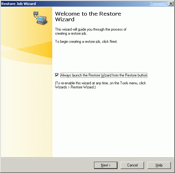 Restore wizard window will appear.