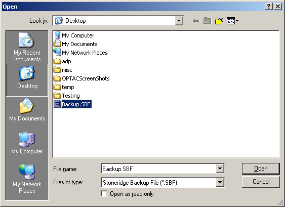 Choose a backup file to restore the database from and click Open. Figure 6.