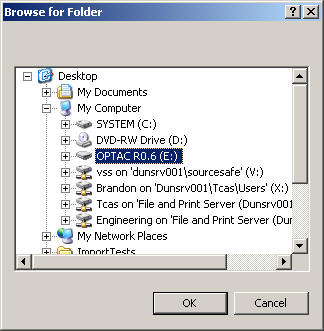 Now choose the location of the OPTAC tool. Click the Browse button to open a further screen which will prompt you to browse for a folder. Figure 6.