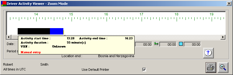 A box will appear that contains the start and end time of the activity, the activity duration, and the vehicle/driver associated with the activity. If the activity is a manual entry i.e. one that has been manually entered into a VU by a driver, Manual entry will be shown in red at the bottom of the box.