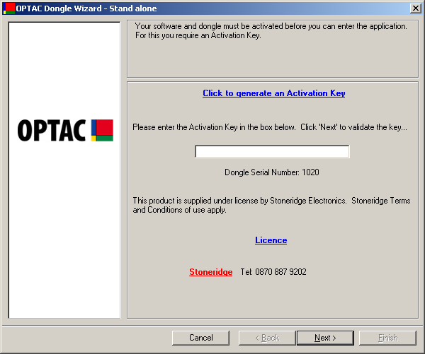 3.4 Software Activation The first time that you run the OPTAC application, you will be prompted to activate the software. This is essential for the use of the software.