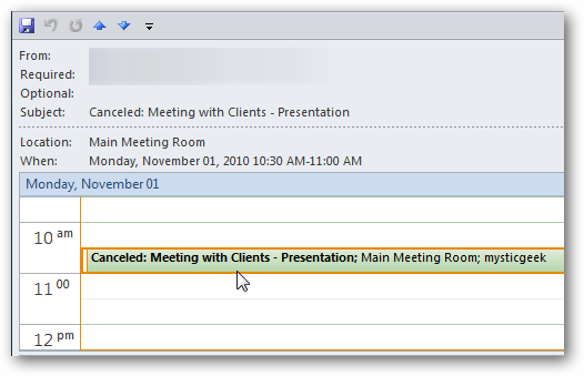 Microsoft Outlook 2010 Calendar (23) All attendees will receive an E-Mail notification telling them that the meeting has