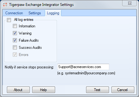 24. Click to verify the Exchange Server connection. If a message indicates the test is successful, click to return to the configuration tool.