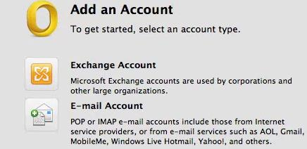Email Setup Email account type Whilst in Outlook, you will need to go to Outlook in the top left corner of the screen, and then go to preferences. In preferences, in the first row click on Accounts.