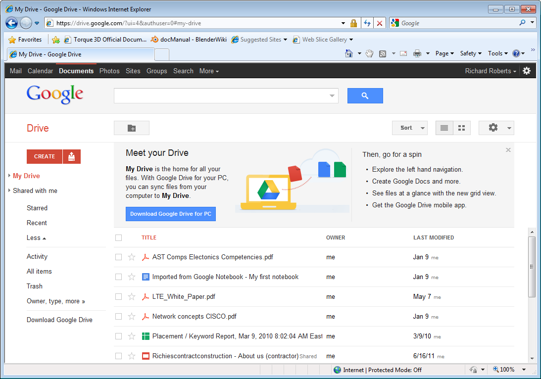 Google Drive Another popular cloud service is Google Drive. Look at the screen capture below to see one of the user interfaces.