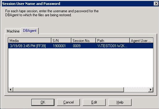 Database Restore with the Option 5. Click the DBAgent tab. The DBAgent tab opens. 6. Enter the user name and password. Note: For Oracle 9i and 10g, enter the user name SYSTEM. 7.