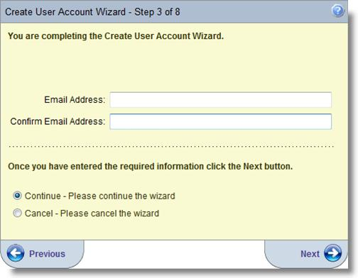 Step 4 of the Create User Account Wizard asks the user to create a user name and confirm it.