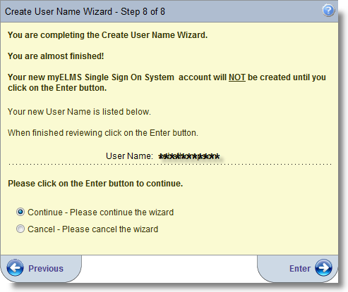 Step 6 of the Create User Account Wizard asks the user to select a secret question and provide the answer.