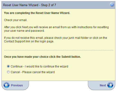 Step 2 provides the user with instructions to complete the Reset User Name process. Click Next.