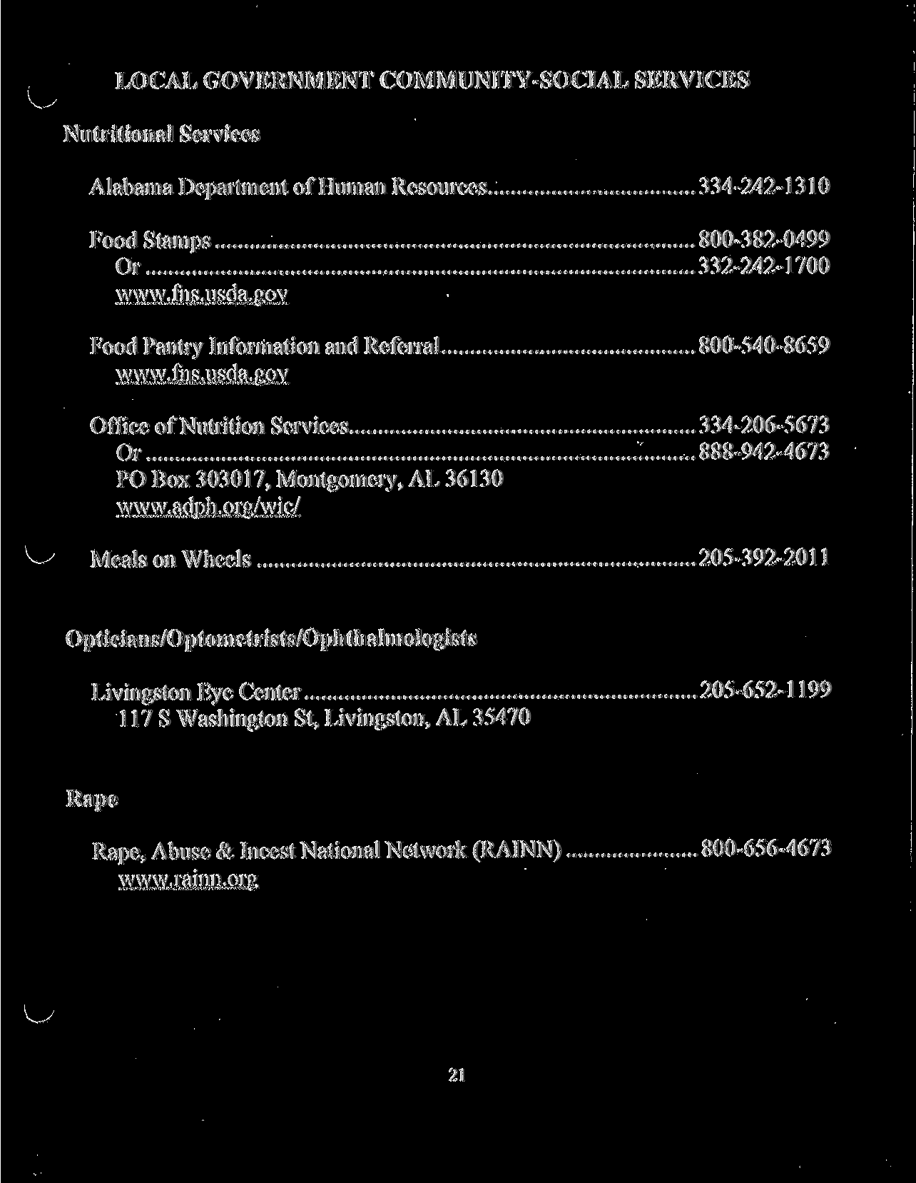 LOCAL GOVERNMENT COMMUNITY SOCIAL SERVICES Nutritional Services Alabama Department Of Human Resources 334 242