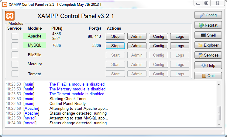 MySQL with your local database(i) XAMPP lets you work with your own, local MySQL database Make sure you start the MySQL