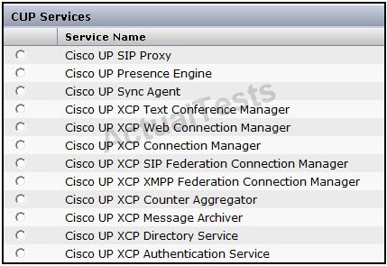 In order for the Instant Messaging feature in Cisco Unified Presence to function, which service is specific to the feature and required to be activated? A. Cisco UP Sync Agent B.