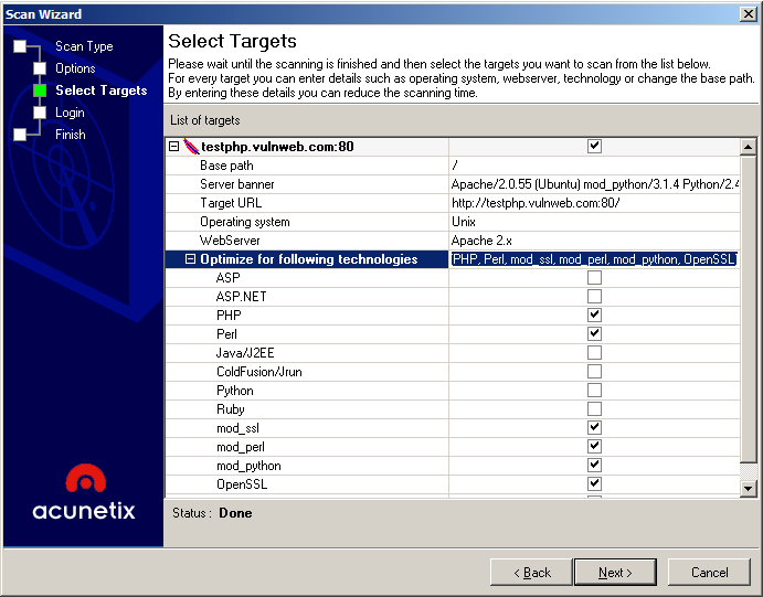 Step 3: Confirm Target and Technologies Detected Screenshot 3 Scan Wizard Selecting Targets and Technologies Acunetix WVS will automatically fingerprint the target website for basic details and