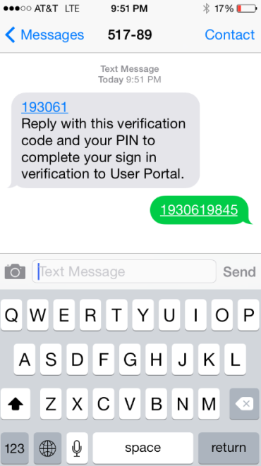 3: Complete User and Authentication Setup Text Message 1. Select Text Message as your authentication method. 2. Enter a phone number (area code and phone number). 3. Enter a 4-