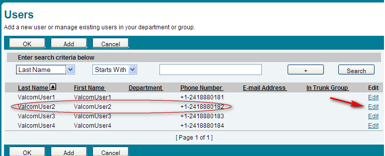 8. Return to the Profile page and select Users in the Basic column. BroadSoft BroadWorks ver. 17 9.
