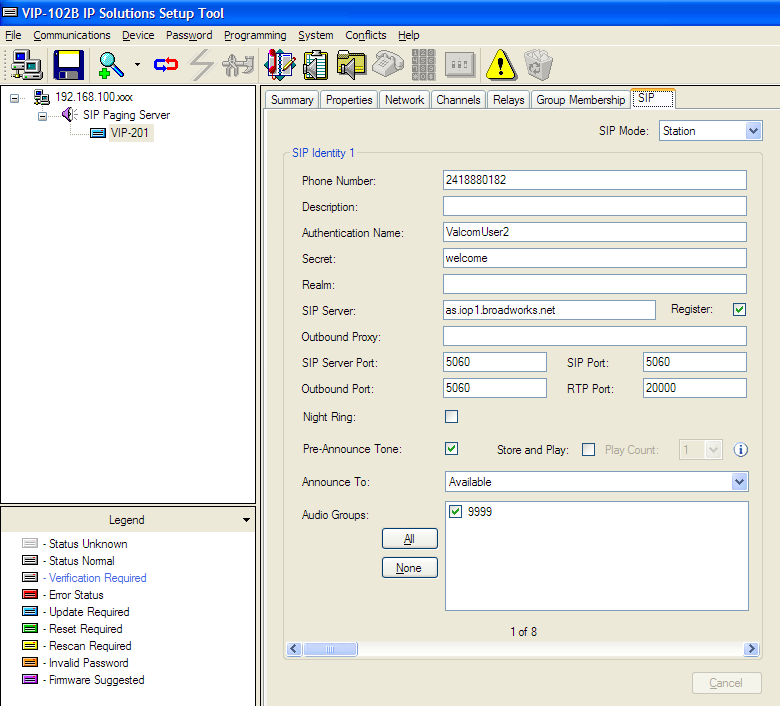 15. Open the Valcom VIP-102B IP Solutions Setup tool interface for the Valcom SIP enabled VIP device.