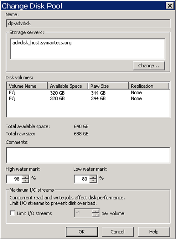 Managing AdvancedDisk Managing AdvancedDisk disk pools 53 3 Click Edit > Change. 4 In the Change Disk Pool dialog box, change storage servers or the properties.
