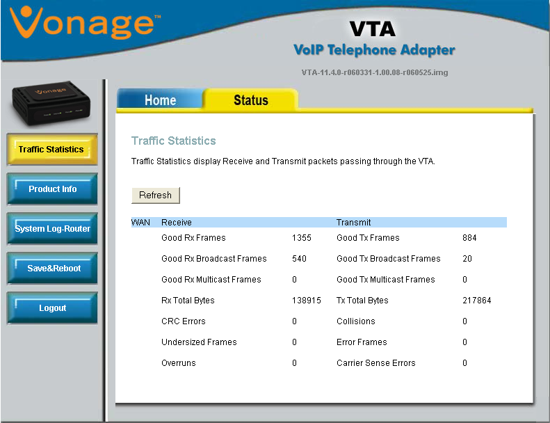 Chapter 3 - Configuration Status The Traffic Statistics page