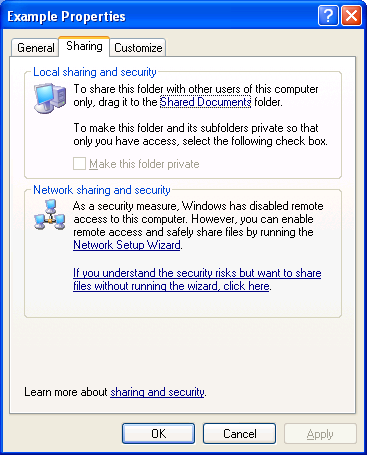 5. Click OK. For a computer running Windows XP Professional that is a member of a domain, advanced file sharing is the only mode of file sharing.