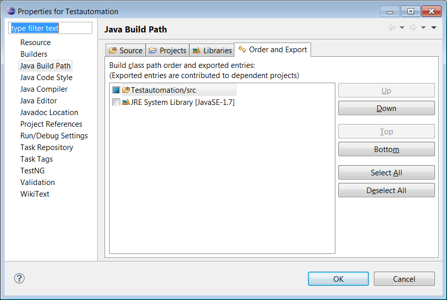 Figure 18 5. Add the Selenium jar to the library ( File> Properties > Goto Libraries > Add External JARs.