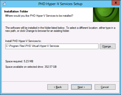 Chapter 2 Installing PHD Virtual Backup 3. Double-click PHDHyperVServices_Install.exe.
