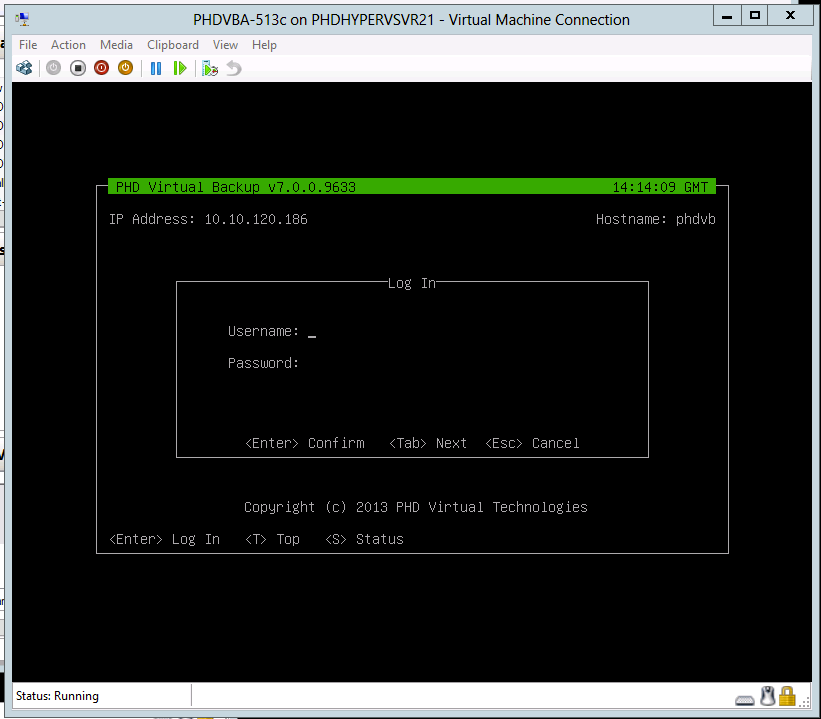PHDVB v7 for Hyper-V To change a PHD Appliance s IP address (VM Console) 1.