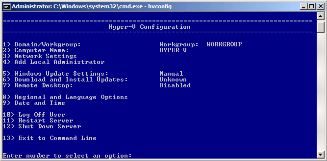 Setting the Administrator Password During the first logon after the installation of Hyper-V Server, you will be prompted to enter a user name and create a password.
