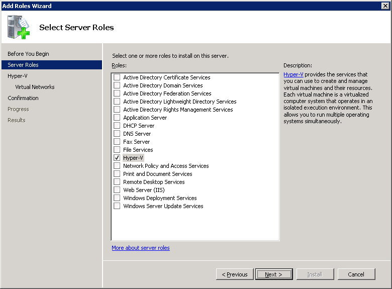 2. Launch Server Manager, select the Server Roles item, and click Add Roles.