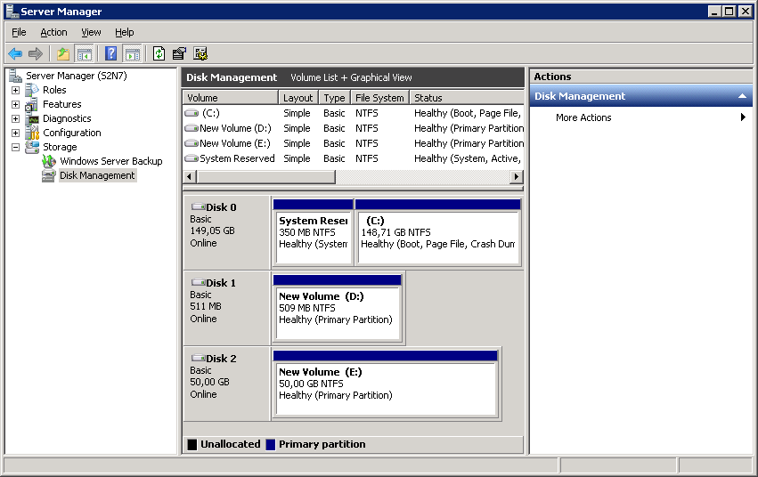 To create the partitions and format the new disks: 1. Right-click each of the disks and select New Simple Volume. 2. Create partitions by following the wizard s instructions.