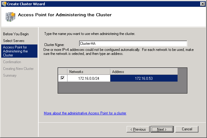 2. Specify servers to be included into the cluster. 3. Click Next to continue. 4. Specify a cluster name.