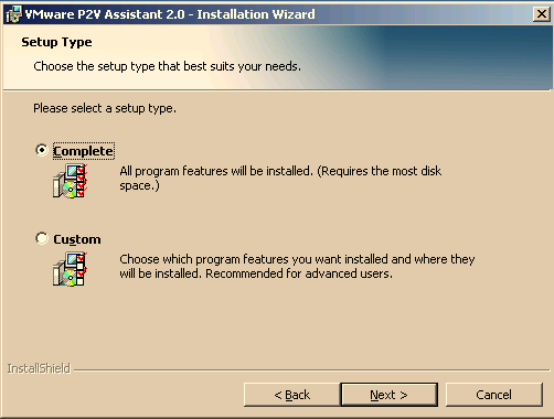 CHAPTER 3 Installing VMware P2V Assistant 5. Proceed through the installer, answering the prompts as indicated. 6. Begin the installation. Click Next. 7. Acknowledge the license agreement.