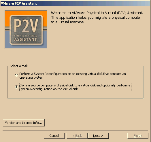CHAPTER 4 Creating Cloned Disks 5. Select the P2V Assistant cloning option. Click Next.