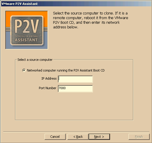 VMware P2V Assistant User s Manual 6. Acknowledge the tested cloning disclaimer. Click OK.