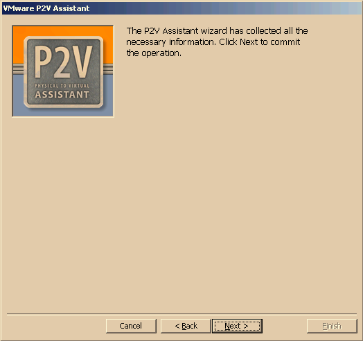 VMware P2V Assistant User s Manual Completing the Cloning Process After you have made all the decisions, the P2V Assistant creates the designated cloned disk. 1.