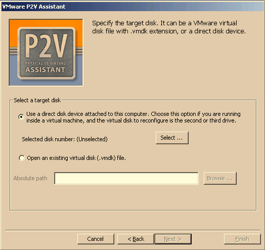 VMware P2V Assistant User s Manual Identifying the Virtual Disk to Reconfigure The Select a target disk page displays two target disk options. 1.
