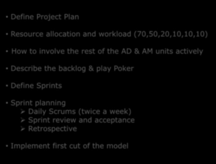 Approach to One IT Test process (2) Define Project Plan Resource allocation and workload (70,50,20,10,10,10) How to involve the rest of the AD & AM units actively