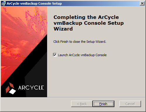 10 7. Select the appropriate checkbox to launch ArCycle vmbackup Console when