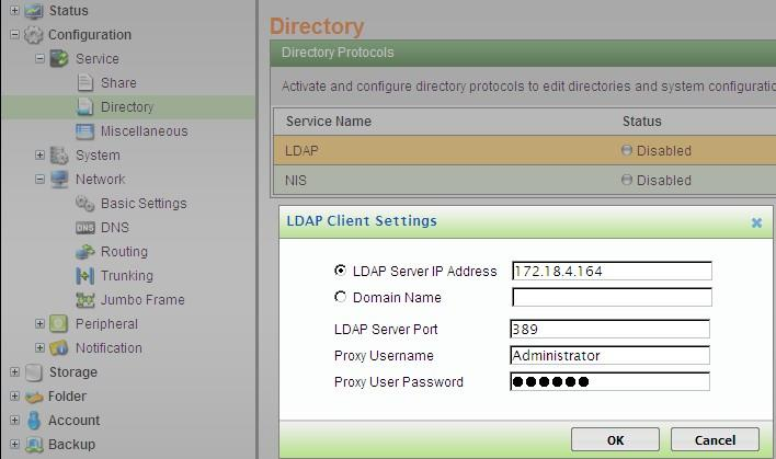 LDAP Server IP Address / Domain Name: Enter either the IP address or the domain name of the AD server to specify it. Example: (IP Address) 172.18.4.