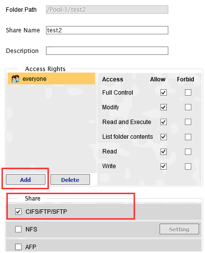 Step 6: Allowing Users to Access Folders 6.1 Go to Explorer in the HA3969U GUI and select the folder to be shared. Click on Share. 6.2 Add users that will have permission to access this folder by clicking on Add.