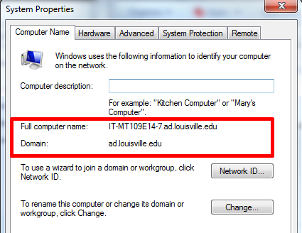 e. Click on the Computer Name tab 3. The client workstation account in Active Directory must be in a departmental OU. Computers in the default Computers OU are not targeted for the client push.