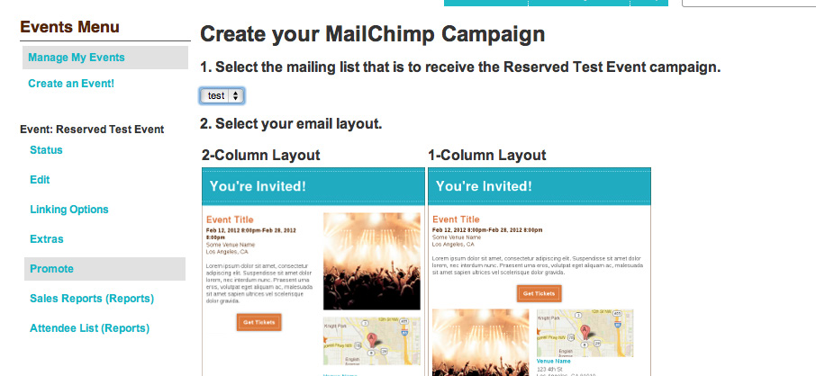 8 Click on it, then login with your MailChimp credentials. If this logs you out of Brown Paper Tickets, just log back in and try again.