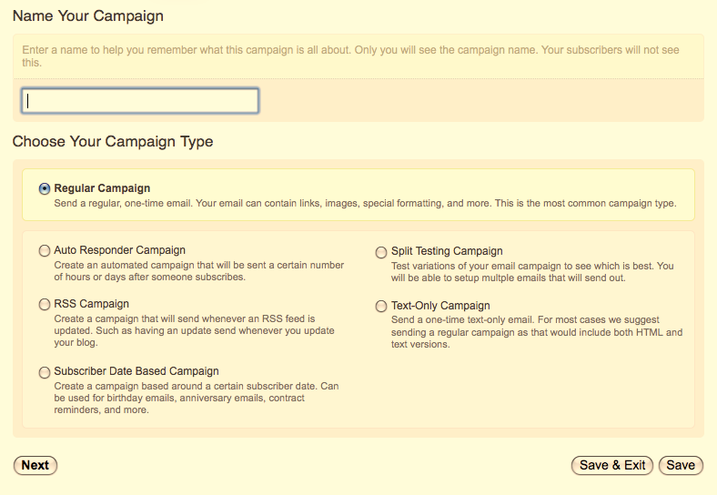 3. Sending your First Campaign You are now ready to send your first campaign. Go to Campaigns > Create New Campaign.
