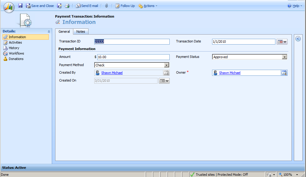 Non-Profit Solution for Microsoft Dynamics CRM 17 4. Input the necessary information. 5.