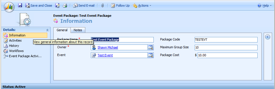 Non-Profit Solution for Microsoft Dynamics CRM 31 Track Event Packages Event Packages are collections, or packages of activities associated with an event.