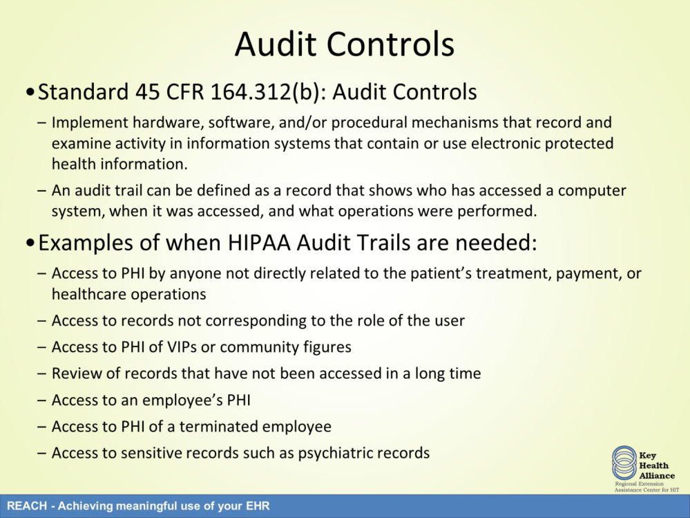 The next area of requirements for the technical safeguards are audit controls.