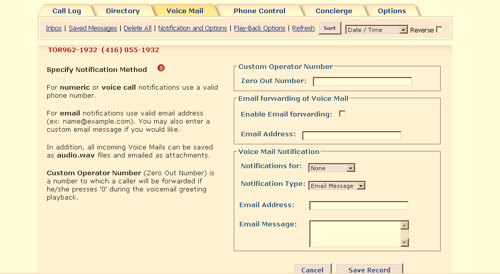 Within this tab you have the option to listen to your voice mail, to archive the message, email the message as a wav attachment or to delete the voice mail.