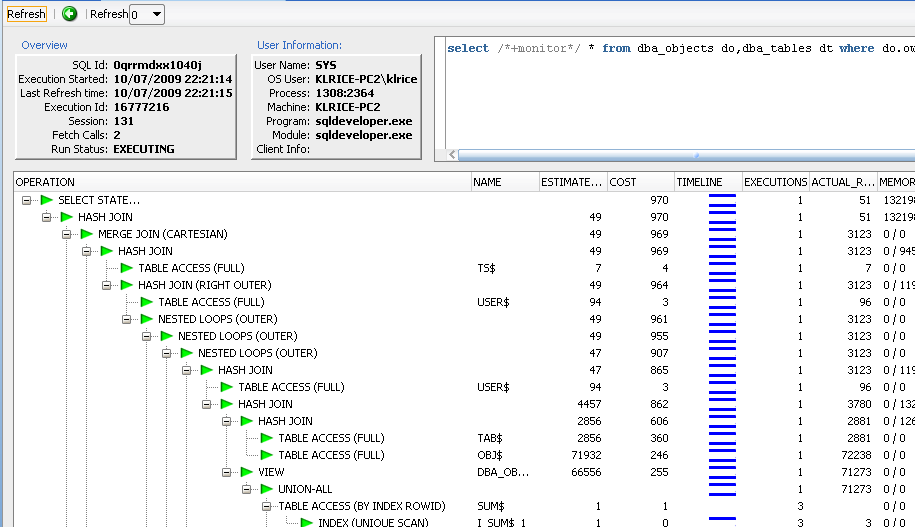 Real-Time SQL Monitoring Real time view of SQL Use /*+MONITOR*/ Drill to view details Visual