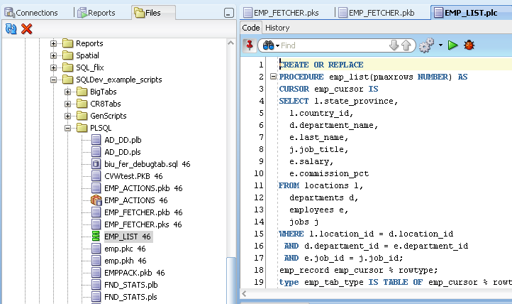PL/SQL Updates Debugging PL/SQL tagged file Run and