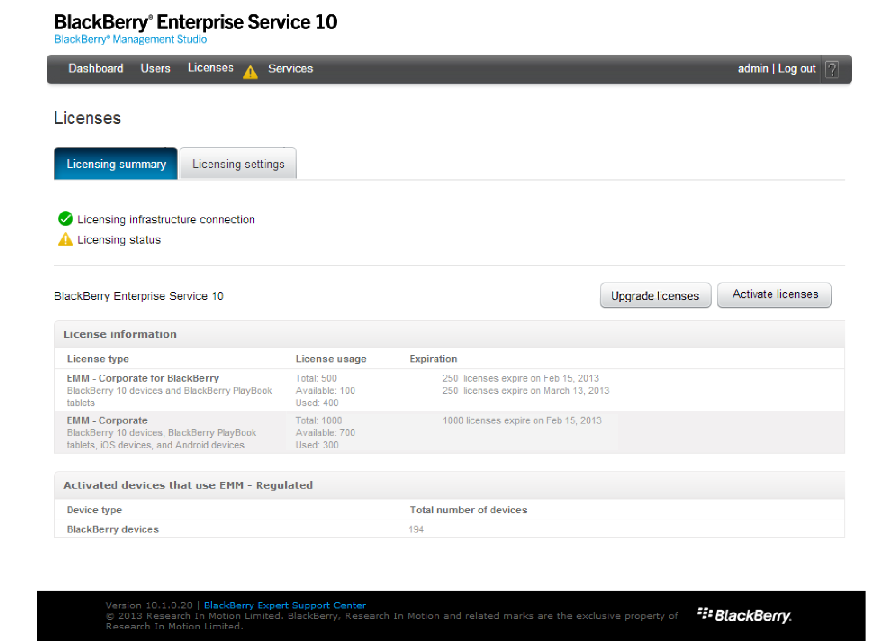 Preventing issues with your BlackBerry Enterprise Service 10 installation before they happen Monitor license usage BlackBerry Management Studio allows administrators with the Security Administrator