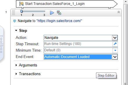 Chapter 5: Cloud CRM Provider Salesforce Transaction Flow Navigate to 'https://login.salesforce.com/' In the Navigation step, specify the URL.